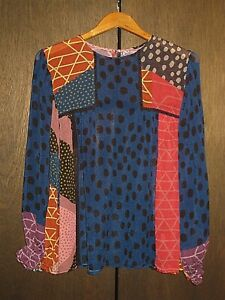 ANTHROPOLOGIE BLANK LONDON PATCHWORK PEASANT BLOUSE SHIRT TOP WOMENS SIZE XL