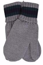 New Gucci Kid's Grey Wool Web Stripe Winter Mittens Gloves Medium