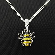 "1 x  18"" Silver Plated Bumble Bee Enamel Pendant Charm Necklace"