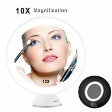 10X Magnifying LED Lightup Touch Sceen Makeup Mirror 360° Rotation Lock Suction