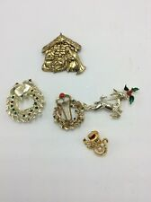 Christmas Holiday Costume Jewelry Pins V7 Lot of 5 Vintage Goldtone Multi Shape