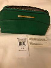 Ralph Lauren Green Leather Tall Thurlow Zipped Cosmetic Bag