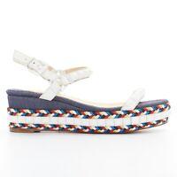 CHRISTIAN LOUBOUTIN Cataclou embroidery white spike stud platform sandal EU35