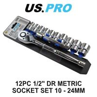 "US PRO Tools 12 Piece 1/2"" Drive Metric Socket Wrench Set 10 - 24MM 3260"