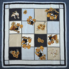 Cute LOREDANO Teddy Bears DUCKS Flowers BLUE Gold Brown Crepe Silk Scarf Italy