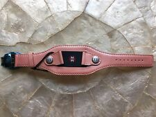 MICHELE PINK  LEATHER DECO WATCH CUFF BAND - MADE IN FRANCE - 18MM