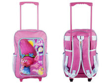 DreamWorks Trolls Deluxe Trolley Backpack Cabin Bag Kids Children Pink Suitcase
