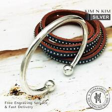 Free Engraving - 925 Silver Mens Torque Bangle Bracelet ✔️Heavy✔️Quality✔️Solid