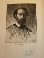 Charles Josuah CHAPLIN (1825-1891) EAU FORTE PORTRAIT RICARD PEINTRE MARSEILLE