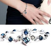 Ocean Heart Austrian Crystal Chain Jewelry Bracelet Bangle Adjustable Women Top