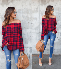 Women Off Shoulder Blouse Loose Casual T Shirt Long Sleeve Red Plaid Top Shirt