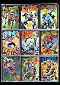 1994 Marvel Universe Fleer Limited Edtion Power Blast Set of 9 - Spider Man Hulk