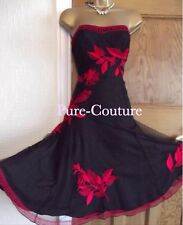 STUNNING ❤️ COAST £160 SIZE 10 RED BLACK EMBROIDERED LAYERED EVENING PARTY DRESS