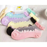 5Pairs Women Lace Ruffle Ankle Socks Soft Silk Cotton Elastic Mesh Frill Sox