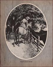 SIDESADDLE RIDER STOPS TO PET THE CATTLE by George Ford Morris, vintage 1952