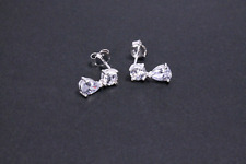 925 Sterling Silver Cubic Zirconia Dangle Womens Earring Pair Costume Jewellery