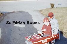 KODACHROME 35mm Slide Fire Truck Pedal Car Cute Boy Girl Helmet Driveway 1961!!!