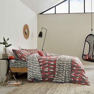 Scion Designer Bedding Pedro Brushed Cotton Pimento Red & Black Duvet Cover Set