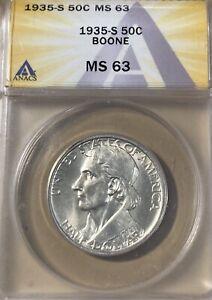 1935-S ANACS MS63 Boone Silver Commemorative Half Dollar!