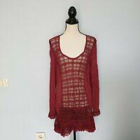 Damen TREDY Kleider Langarm Rot Dress Gr. 46