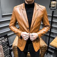 Wedding Men's Blazer Leather Jacket Casual Slim Coat Formal Fit Dress Business