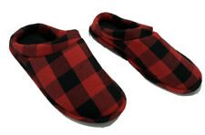 Men's Slippers Rubber Sole Red & Black Plaid Size 9-10