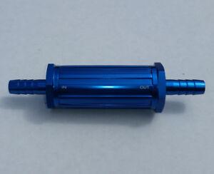"9mm Barb 3/8"" Aluminum Inline Fuel Filter 30 Micron Blue 4.36"" long RPC R5481"