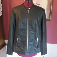 SEBBY COLLECTION Black Faux Leather Jacket Size Medium M New With Tag Orig $100