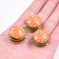 5PC 3D Hamburger Resin Charm Pendant For DIY Kerchain/Keyring Jewelry