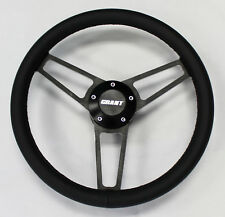 C10 C20 C30 Blazer Pick Up Black Leather on Black Billet Steering Wheel 14 3/4""