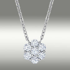 .46 ct Lab Diamond Cluster Pendant Necklace & Chain 14K Solid White Gold Gift