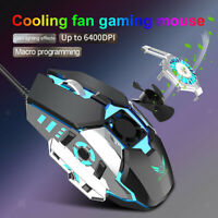 Pro Gaming Mouse RGB Computer Mice with Anti-Sweat Palm Cooling Fan 6400DP