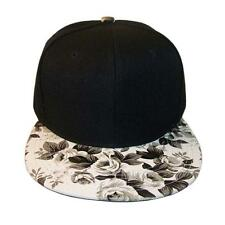 Floral Flower Snapback White Black Hat Flat Bill Adjustable Baseball Cap NWT