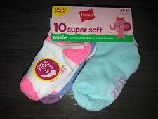 BRAND NEW Toddler GIRLS SIZE 2T - 3T HANES 10 PACK OF Ankle Socks
