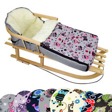 HOLZSCHLITTEN mit Rückenlehne + WINTERFUßSACK (90cm) Kinderwagen Lammwolle EULE