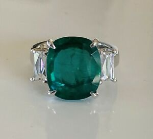18KWG 6.85 CT Zambian Emerald 3 Stone Ring w/ 2 French Cut Dia Baguettes .72 cts