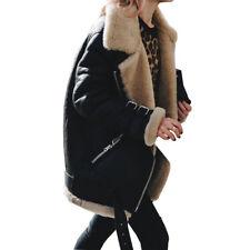 Damen Teddyfell Wildledermantel Bikerjacke Winterjacke Wintermantel Outwear Coat