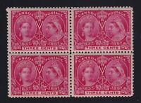 Canada Sc #53 (1897) 3c bright rose Diamond Jubilee Block of 4 Mint VF NH