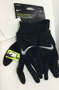 Running Nike Accelerated Mens Gloves Dri Fit Technology Sz.L Black NWT