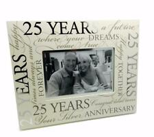 25th Silver Wedding Anniversary Photo Frame Gift With Scripts Boxed 6 x 4 70080