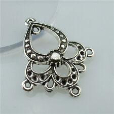 13602 15PCS Vintage Silver Tone Flower Dangle Pendant Connector Earring Making