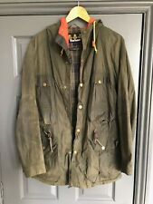 Mens Barbour Wax Jacket Dark Green coat Size Large L with Hood