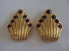 Vintage Bluette Shoe Clips France Gold Tone Rhinestones Jewelry Signed