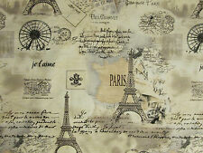 VINTAGE PARIS EIFFEL TOWER MAP SCRIBE PINKS COTTON FABRIC BTHY