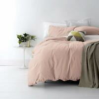 Park Avenue Vintage Washed Cotton Quilt Cover Set Queen King Super King Blush