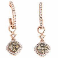 14K Rose Gold Brown & White Diamond Double Drop Dangle Earrings Hoops 0.53 Ct.