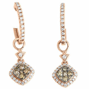 14K Rose Gold Brown & White Diamond Double Drop Dangle Earrings Hoops 0.53 Ct