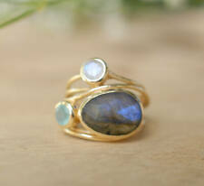 Charm Gold Plated Women Mystic Pear Moonstone Promise Rings Engagement Jewelry