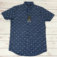 Molokai Surf Co Shark Button Down Blue Shirt Mens Size Medium New With Tags