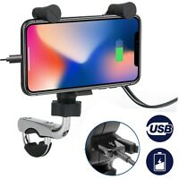 Universal Waterproof Motorcycle Handlebar Cell Phone Holder Mount w/ USB Charger